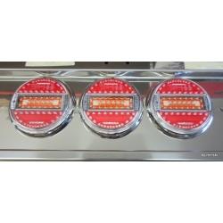 LED Heckleuchte Rund 5 Funktionen Farbglas mit Chromring