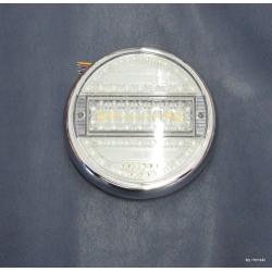LED Heckleuchte Rund 5 Funktionen Klarglas mit Chromring