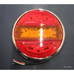 LED Heckleuchte Rund 3 Funktionen Farbglas mit Chromring