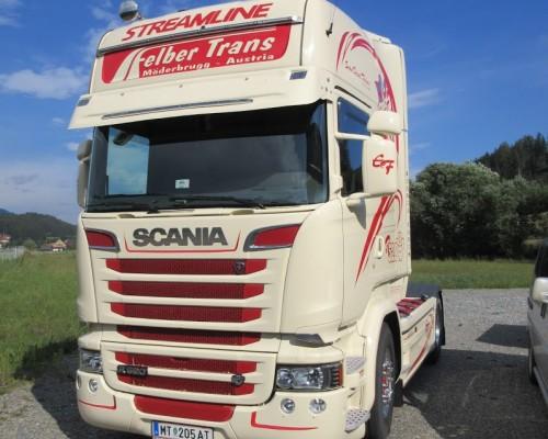 Scania Felber Sonnenblende Bügel über Topline Gummilippenverlängerung